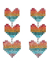 Fashion 1 Three Hearts Diamond Geometric Irregular Earrings