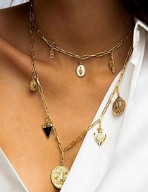 Fashion Gold Alloy Drop Oil Embossed Multilayer Necklace