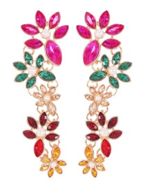 Fashion Color Alloy Diamond Flower Earrings