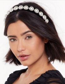 Fashion Black Corduroy Pearl Headband
