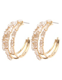 Fashion Gold Copper Inlaid Zircon Hollow C-shaped Earrings