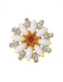 Fashion Gold Diamond Flower Brooch