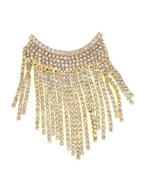 Fashion White Pearl Flash Drill Tassel Brooch