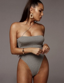 Fashion Gray Strap One-shoulder Bodysuit