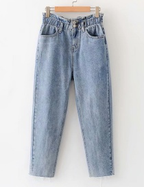 Fashion Light Blue Washed Flowerbed Elastic Waisted Jeans