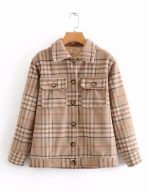Fashion Khaki Check Wool Jacket