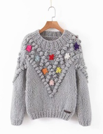 Fashion Gray Woven Ball Flower Sweater