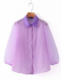 Fashion Purple Lapel Mesh Shirt