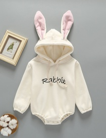 Fashion White Rabbit Ear Letter Print Plus Velvet Hooded Jumpsuit