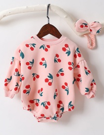 Fashion Pink Cotton Cherries Printed Triangle Piece