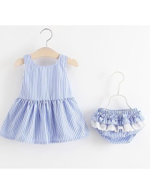 Fashion Light Blue Bow Stripe Skirt With Pants 2 Piece Set