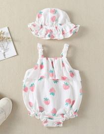 Fashion White Strawberry Printed Triangle Strap Baby One-piece Dress