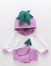 Fashion Purple Thickened Fruit Three-dimensional Printed Diagonal Hooded Jumpsuit