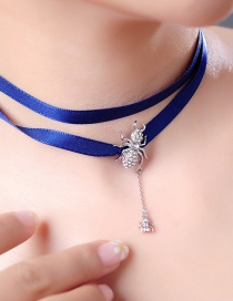 Fashion Blue Ribbon-studded Spider Necklace