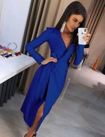 Fashion Royal Blue Deep V-neck Dress