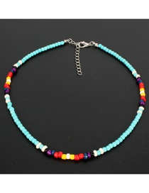 Fashion Blue Natural Stone Rice Beads Necklace