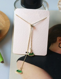 Fashion Green Scalloped Tassel Necklace