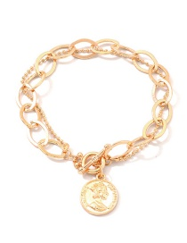 Fashion Gold Diamond Oval Chain Metal Portrait Bracelet