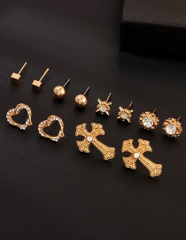 Fashion Gold Cross Love Heart Diamond Stud Earrings