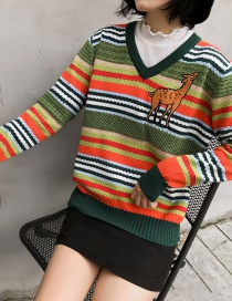 Fashion Color Animal Stitching Striped Pullover