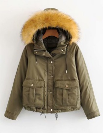 Fashion Army Green Large Fur Collar Hooded Workwear Pocket Coat