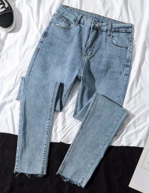 Fashion Light Blue High-waist Elastic Feet Denim Cropped Pants