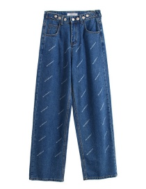 Fashion Blue Letter Printed Jeans