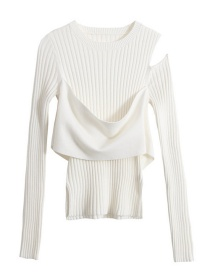 Fashion White One-side Strapless Sweater