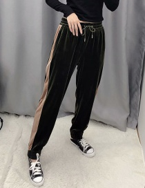 Fashion Armygreen Velvet Lace-up Trousers