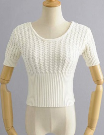 Fashion White Twisted Knit Sweater
