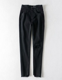 Fashion Black Washed High-elastic High-waisted Jeans