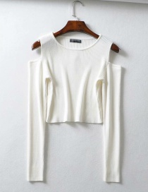 Fashion White Off-the-shoulder Long Sleeve Pullover