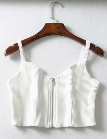 Fashion White Zippered Knit Vest