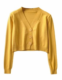 Fashion Yellow V-neck Single-breasted Sweater