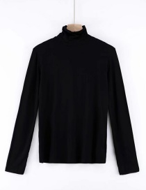 Fashion Black High Collar T-shirt
