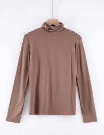 Fashion Coffee Color High Collar T-shirt