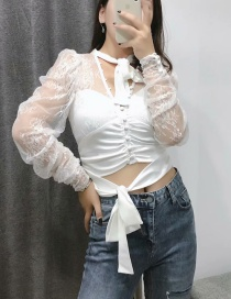 Fashion White Lace Openwork Bow Perspective Shirt