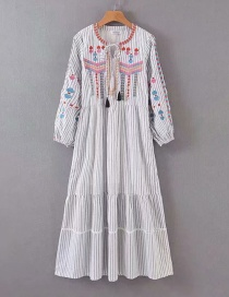 Fashion White Embroidered Striped Fringe Dress