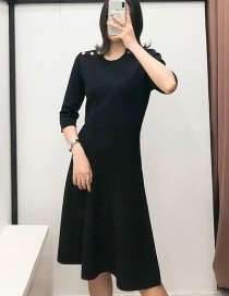 Fashion Black Knitted Round Neck Studded Sweater Dress