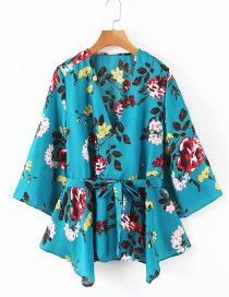 Fashion Blue Flower Print V-neck Lace-up Shirt