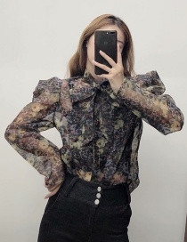 Fashion Black Puff Sleeve Organza Lace-up Shirt