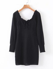 Fashion Black Lace Square Neck Dress