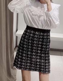 Fashion Black Metallic Color Knit A Word Skirt