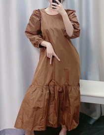 Fashion Caramel Colour Ruffle Dress