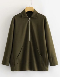 Fashion Armygreen Kangaroo Pocket Coat