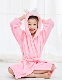 Fashion Pink Rabbit Robe Flannel Cartoon Hooded Animal Home Service