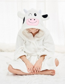 Fashion Cow Robe Flannel Cartoon Hooded Animal Home Service