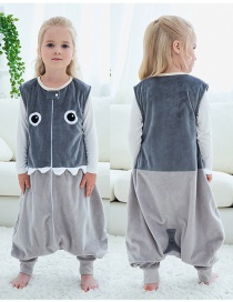 Fashion Gray Big Eyes Sleeveless Flannel Baby One-piece Home Service
