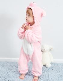 Fashion Powder Pig Animal Jumpsuit Flannel Children's Romper