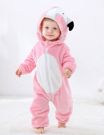 Fashion Pink Flamingo Flannel Cartoon Children's Climbing Suit